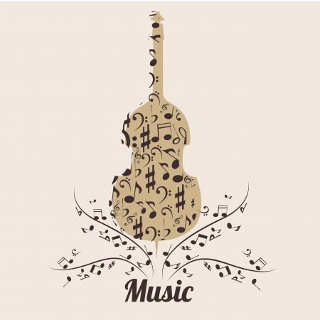 a violin composed by brown sillhouetes of music notes Vector