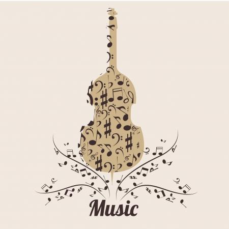 pentagramma musicale: un violino composta da sillhouetes marroni di note musicali