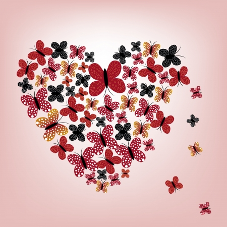 a heart composed by colored butterflies in a red background Vector