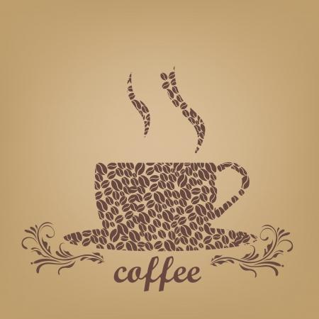 Kubek składa się z ziaren kawy z kawą Ilustracja