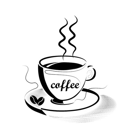 ensemble: a mug with coffee and a pair of coffee grains in white background
