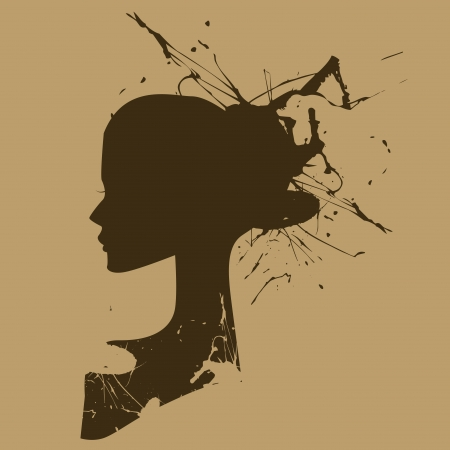 ensemble: the face of a woman in retro style in yellow background Illustration