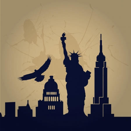 some black silhouettes of big buildings from new york Vector