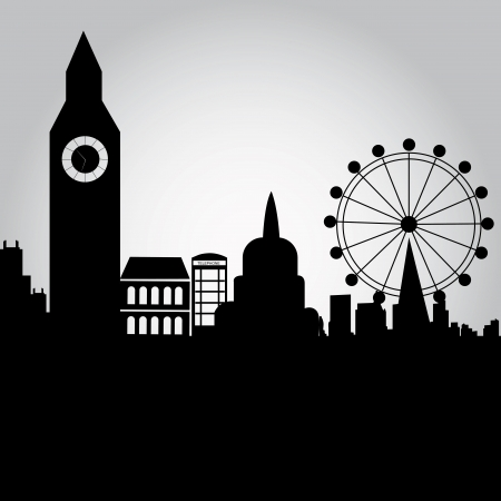 some black silhouettes of buildings from london Illustration