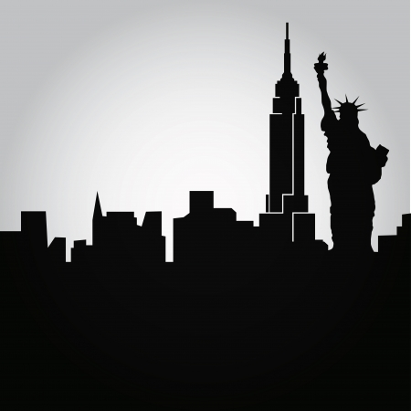 some black silhouettes of the buildings from new york