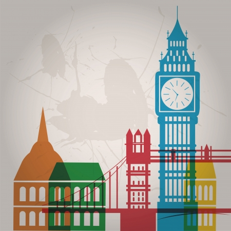 some colored silhouettes of the buildings from london Vector
