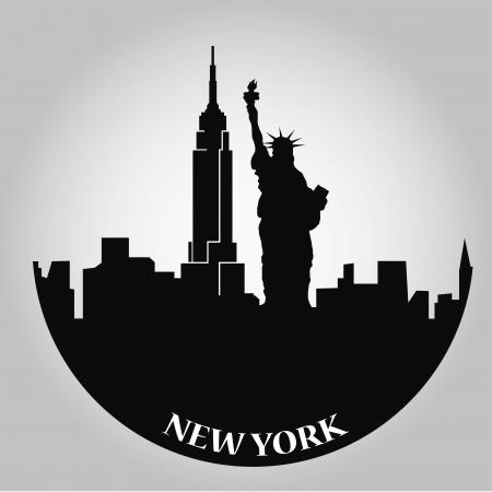 niektóre czarne zarysy budynków z Nowego Jorku
