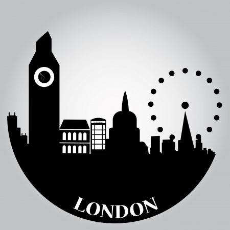 london skyline: some black silhouettes of the buildings from london