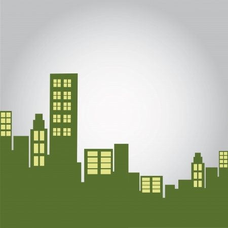 some green silhouettes of buildings with lights