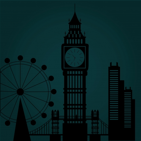 some black silhouettes of the buildings from london in the night