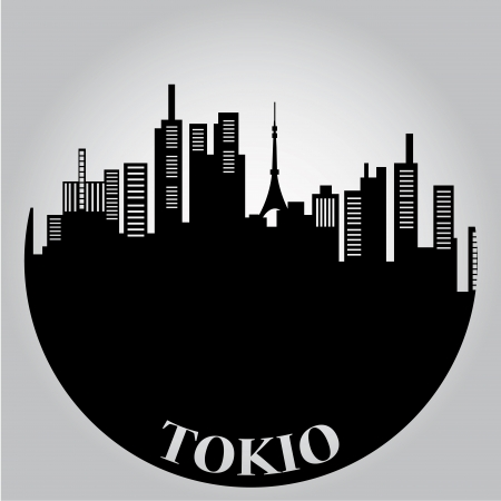 some black silhouettes of the buildings from tokyo Illustration