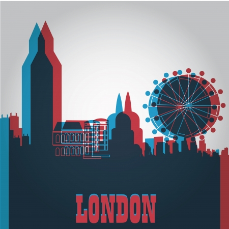some colored silhouettes of the buildings from london