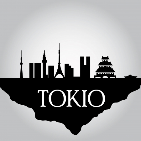 some black silhouettes of the buildings from tokyo