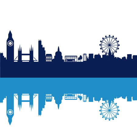 some blue silhouettes of the buildings from london Vector