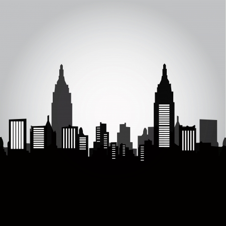 some black and grey silhouettes of the buildings from new york Vector