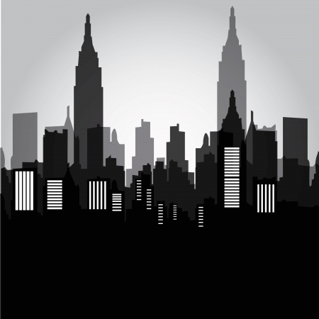 some black and grey silhouetets of the buildings from new york Illustration