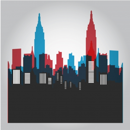 some colored silhouettes of the buildings from new york Vector