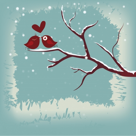 two red birds in love in a naked tree in winter