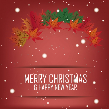 some colored leafs with snowflakes in a red background for christmas and happy new year