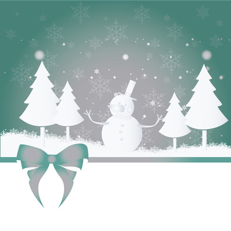 four silhouettes of trees and a snowman in a background with ribbon Vector