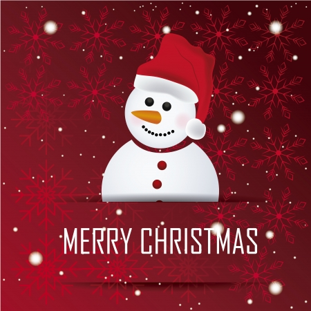 a happy snowman with a red hat in a red background with snowflakes