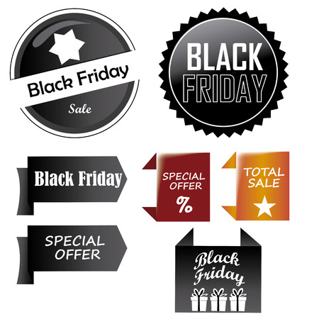a lot of black and colored icons for black friday Vector