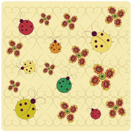 a lot of colored bugs with some beautiful flowers in a textured background with hearts Vector