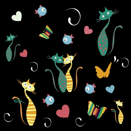 a lot of butterflies, cats, and fishes with colors in black background Vector