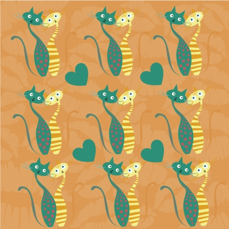 two beautiful cats in love looking at each other in a textured background Vector