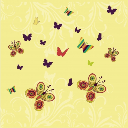 a lot of colored butterflies with different sizes and textures Stock Vector - 22899343
