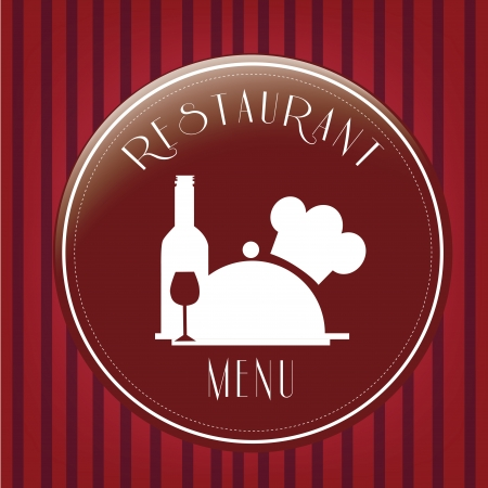 a red icon with some white silhouettes for menu in a striped background Vector