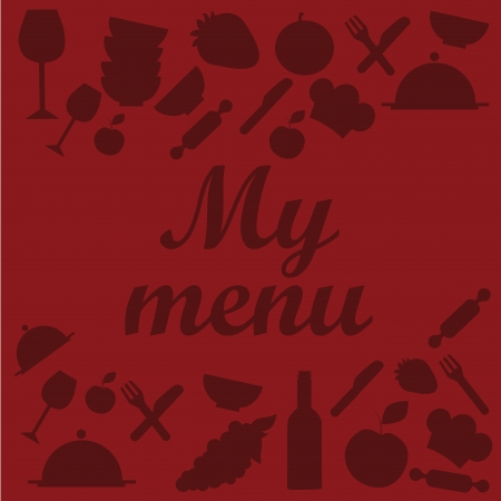 a lot of red silhouettes of menu related items in a red background Vector