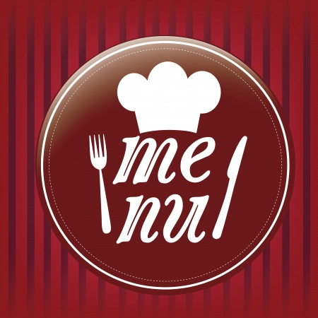 a round red circle with some white silhouettes and text in a striped background for menu Vector