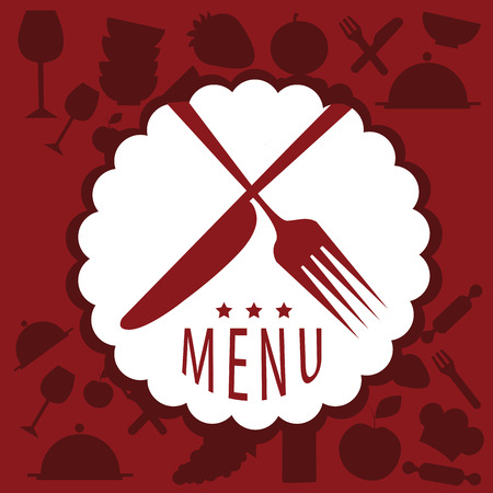 a white icon with two red utensils and text in a red background Vector