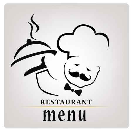 silhouette of a chef with a hot dish composed only by lines with text for menu design Vector