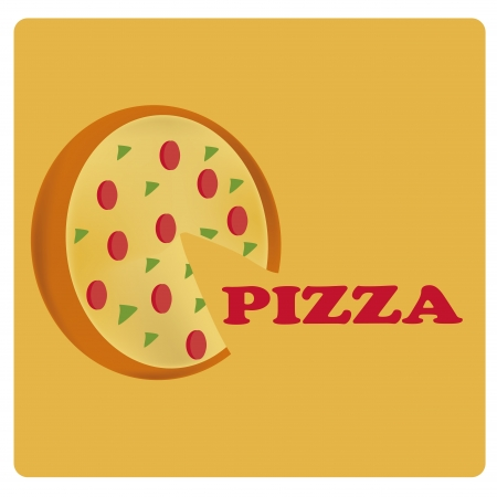a round pizza with ingredients and some text for menu design Vector