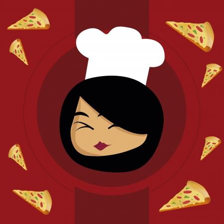 chapeau blanc: une femme heureuse avec un chapeau blanc et une pizza autour d'elle pour la conception de menu Illustration