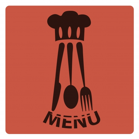 a black menu design with some silhouettes of a hat and utensils for menu design Vector