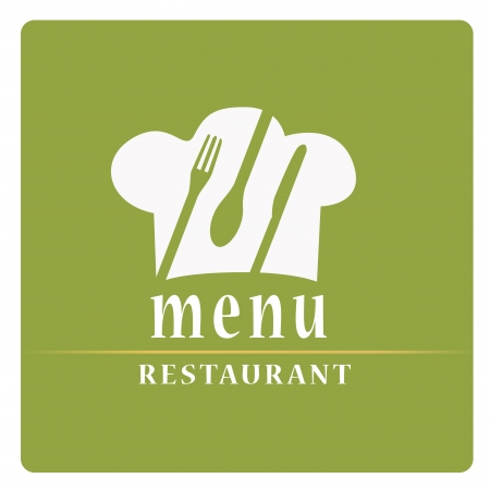 a green menu design with a chef hat, some utensils and text Vector