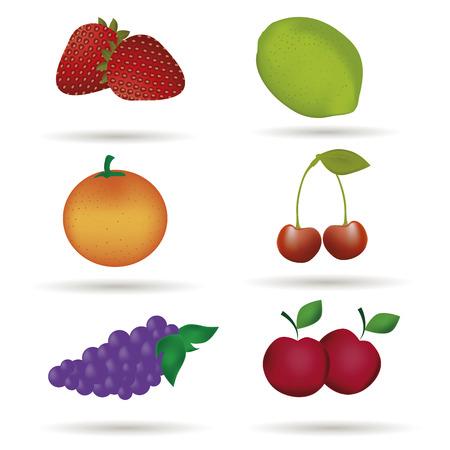 Gesunde Frucht-Icons. Vier Stück Os Gesunde Frische Früchte ...