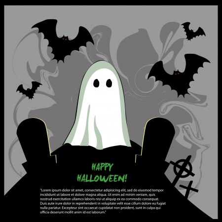 a white ghost with some black silhouettes of ghost and graves around him for halloween Vector