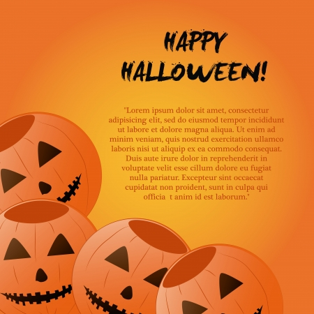 four happy pumpkins with some text for halloween Vector