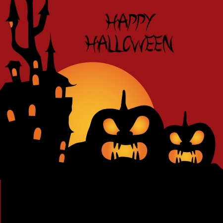 two angry pumpkins near a haunted castle with a moon in the background with text Vector
