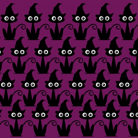 black silhouettes of a lot of cats ordered in pattern in a purple background Vector