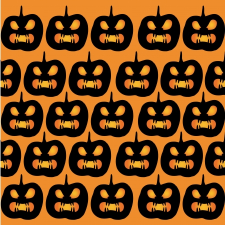 a lot of black silhouettes of angry pumpkins ordered in pattern in an orange background Vector
