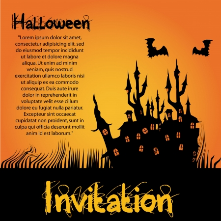a black silhouette of a haunted castle with some bats around it and text for halloween Vector