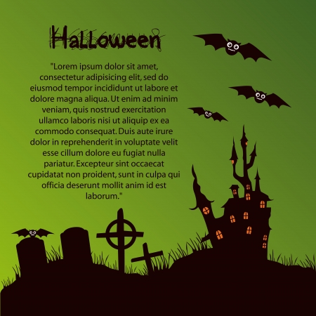 black silhouettes of a haunted castle with windows, bats, graves with some text for halloween Vector