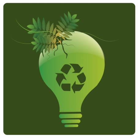 an ecology lightbulb with a tree coming out from it Vector