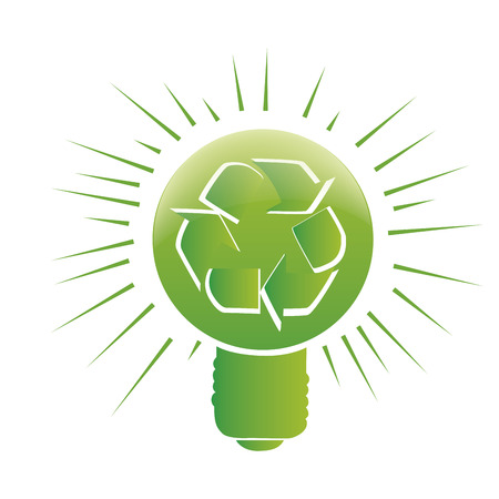 recyclable: a green lightbulb with a recyclable symbol inside it
