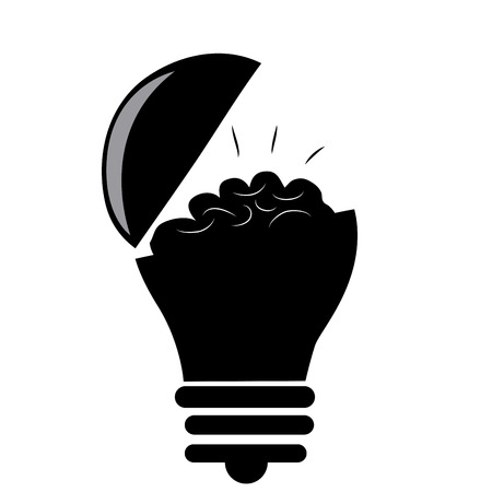 a black lightbulb opened with a brain inside it Vector